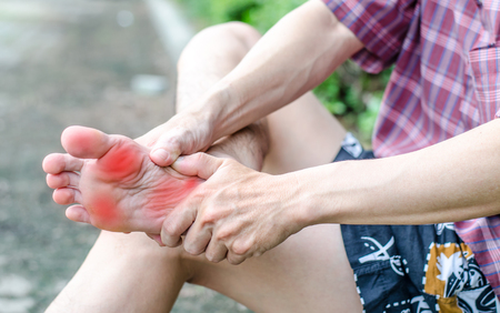 46207083 - male foot pain, man's problem concept
